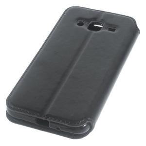 Peňaženkové PU kožené puzdro s okienkom pre Samsung Galaxy J3 (2016) - čierne - 3