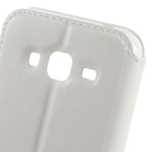 Peňaženkové PU kožené puzdro s okienkom pre Samsung Galaxy J3 (2016) - biele - 3