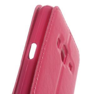 Peňaženkové PU kožené puzdro s okienkom pre Samsung Galaxy J3 (2016) - rose - 3