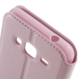Peňaženkové PU kožené puzdro s okienkom pre Samsung Galaxy J3 (2016) - ružové - 3