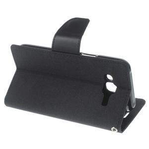 Luxury textilní/pu kožené pouzdro na Samsung Galaxy J5 - černé - 3