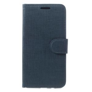 Cloth PU kožené puzdro pre Samsung Galaxy J5 (2016) - tmavomodré - 3