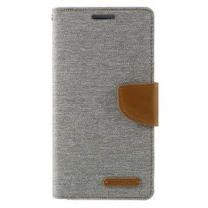 Canvas PU kožené/textilní pouzdro na Samsung Galaxy J5 (2016) - šedé - 3