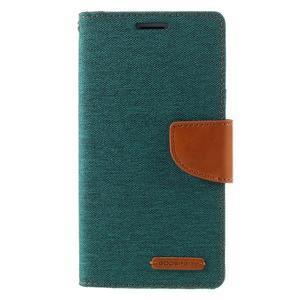 Canvas PU kožené/textilní pouzdro na Samsung Galaxy J5 (2016) - zelenomodré - 3