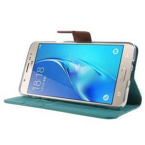 Gentle PU kožené peňaženkové puzdro pre Samsung Galaxy J5 (2016) - zelenomodré - 3