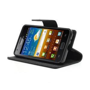 Diary PU kožené puzdro pre mobil Samsung Galaxy S2 - čierne - 3