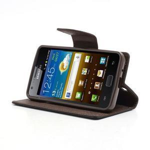 Diary PU kožené puzdro pre mobil Samsung Galaxy S2 - čierne/hnedé - 3