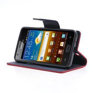 Diary PU kožené pouzdro na mobil Samsung Galaxy S2 - červené - 3