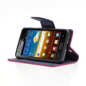 Diary PU kožené puzdro pre mobil Samsung Galaxy S2 - rose - 3