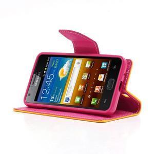 Diary PU kožené puzdro pre mobil Samsung Galaxy S2 - žlté - 3