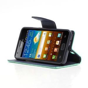 Diary PU kožené puzdro pre mobil Samsung Galaxy S2 - azúrové - 3