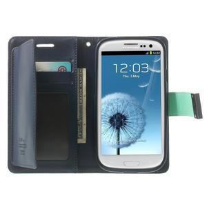 RichDiary PU kožené pouzdro na Samsung Galaxy S3 - azurové - 3