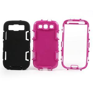 Odolné silikonové pouzdro na mobil Samsung Galaxy S3 - černé/rose - 3