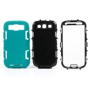 Odolné silikonové pouzdro na mobil Samsung Galaxy S3 - modré/černé - 3