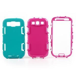 Odolné silikonové pouzdro na mobil Samsung Galaxy S3 - modré/rose - 3
