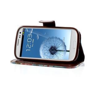 Kvetinové puzdro pre mobil Samsung Galaxy S3 - modré pozadie - 3