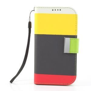 Tricolors PU kožené puzdro pre mobil Samsung Galaxy S3 - čierný stred II - 3
