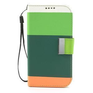 Tricolors PU kožené puzdro pre mobil Samsung Galaxy S3 - tmavozelený stred - 3