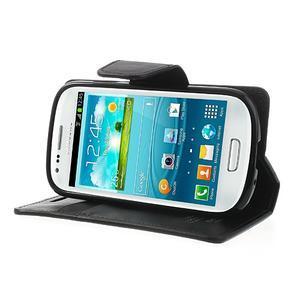 Diary PU kožené puzdro pre Samsung Galaxy S3 mini - čierne - 3