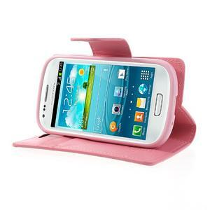 Diary PU kožené pouzdro na Samsung Galaxy S3 mini - růžové - 3