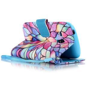 Knížkové PU kožené puzdro pre Samsung Galaxy S3 mini - farebné kvety - 3
