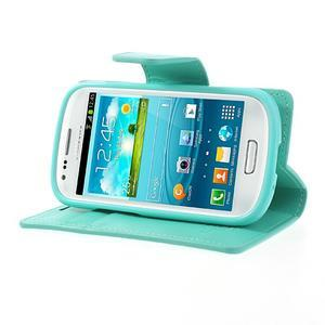 Diary PU kožené pouzdro na Samsung Galaxy S3 mini - azurové - 3