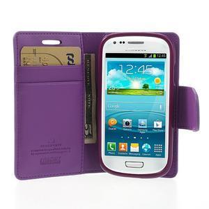 Diary PU kožené pouzdro na Samsung Galaxy S3 mini - fialové - 3