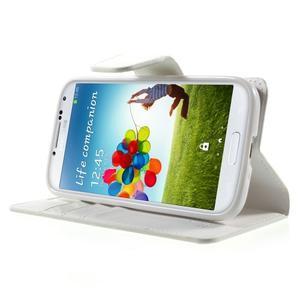 Diary PU kožené puzdro pre mobil Samsung Galaxy S4 - biele - 3