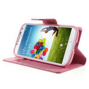 Diary PU kožené puzdro pre mobil Samsung Galaxy S4 - ružové - 3