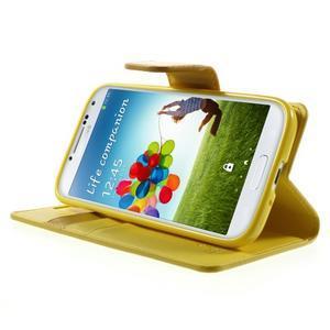 Diary PU kožené puzdro pre mobil Samsung Galaxy S4 - žlté - 3