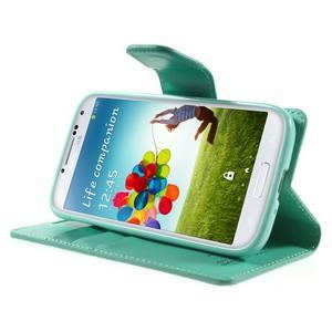 Diary PU kožené pouzdro na mobil Samsung Galaxy S4 - azurové - 3