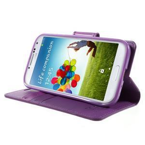 Diary PU kožené puzdro pre mobil Samsung Galaxy S4 - fialové - 3
