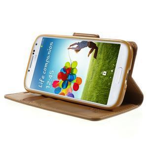 Diary PU kožené puzdro pre mobil Samsung Galaxy S4 - hnedé - 3