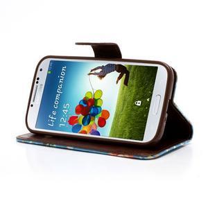 Kvetinové puzdro pre mobil Samsung Galaxy S4 - modré pozadie - 3