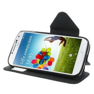Okýnkové peňaženkové puzdro pre mobil Samsung Galaxy S4 - čierne - 3