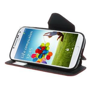 Okýnkové peňaženkové puzdro pre mobil Samsung Galaxy S4 - červené - 3