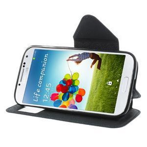 Okýnkové peňaženkové puzdro pre mobil Samsung Galaxy S4 - tmavomodré - 3
