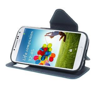 Okýnkové peňaženkové puzdro pre mobil Samsung Galaxy S4 - svetlomodré - 3