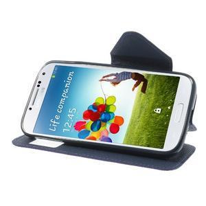 Okýnkové peňaženkové puzdro pre mobil Samsung Galaxy S4 - fialové - 3