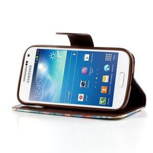 Kvetinkové puzdro pre mobil Samsung Galaxy S4 mini - modré pozadie - 3