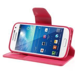Sonata PU kožené pouzdro na mobil Samsung Galaxy S4 mini - rose - 3