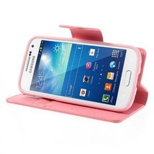 Sonata PU kožené pouzdro na mobil Samsung Galaxy S4 mini - růžové - 3