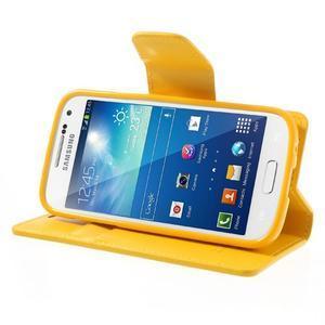 Sonata PU kožené pouzdro na mobil Samsung Galaxy S4 mini - žluté - 3