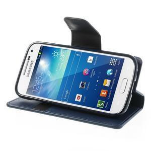 Sonata PU kožené puzdro pre mobil Samsung Galaxy S4 mini - tmavomodré - 3