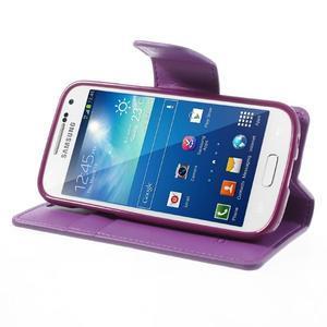 Sonata PU kožené pouzdro na mobil Samsung Galaxy S4 mini - fialové - 3