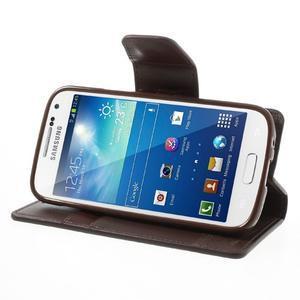 Sonata PU kožené puzdro pre mobil Samsung Galaxy S4 mini - hnedé - 3