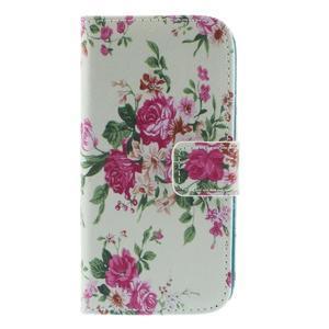 Style peňaženkové puzdro pre Samsung Galaxy S4 mini - kvietky - 3