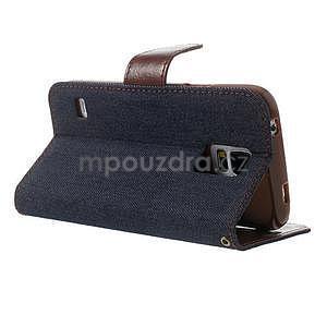 Jeans peňaženkové puzdro pre mobil Samsung Galaxy S5 - čiernomodré - 3