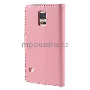 Elegantní peněženkové pouzdro na Samsung Galaxy S5 - růžové - 3