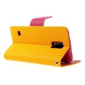 Diary peňaženkové puzdro pre Samsung Galaxy S5 - žlté - 3